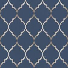 Fretwork Geometric Wallpaper Midnight Blue - Rasch 701647 Metallic Silver