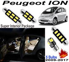 5pcs Xenon White Car LED Interior Light Kit Package For Peugeot iOn 2009-2017