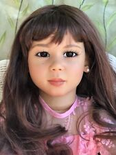 Annette Himstedt Doll Pretty In Pink Michiko W/ New Glass Eyes And Orig Outfit.
