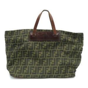 Fendi Handbag Fabric Brown 8374