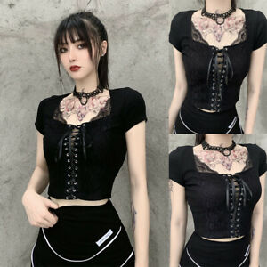 Women Sexy Lace Up Gothic Black Short Lace Punk Tank Top Fashion Shirt Tops Tee