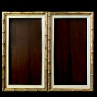 "Faux Bamboo Gilt Wood Picture Frame Pair 28""x16"" Gold Hollywood Regency Vtg"
