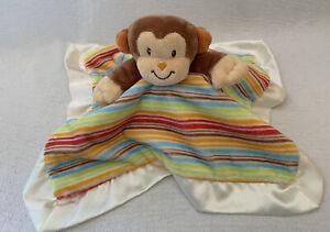 DOUGLAS Baby Lil Smugglers Monkey Security Blanket Lovey Multi Stripes Satin HTF