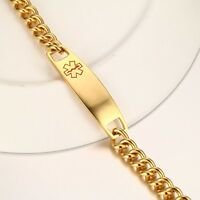 Men Women Gold Medical Titanium Steel Bracelet Medical Alert ID Bracelet