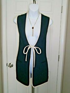 Escada Margaretha Ley Navy/Beige 100% Wool Vintage Vest Sz 36