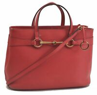 Authentic GUCCI Horsebit Leather Shouder Hand Cross Body Bag 2Way Pink B7977