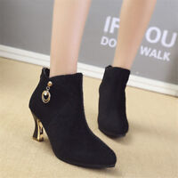Women's Synthetic Suede Ankle Boots Zipper Block Heel Booties Pointed Toe Shoes