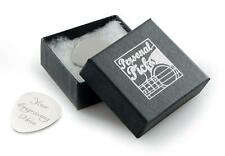 More details for personalised silver guitar plectrum / pick with gift box can be engraved