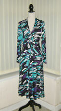 14 GRAY & OSBOURN TOISIE MIDI DRESS BLACK / JADE MULTI LONG SLEEVE PARTY WEDDING