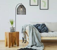 Mercator Sawyer Black Boho Woven Rattan Floor Lamp With Basket Shade Light