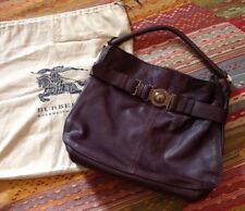 NEW BURBERRY LANGLEY CHOCOLATE GRAINY LEATHER SMALL HOBO