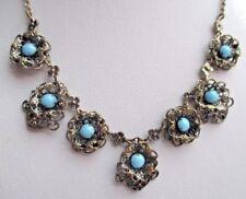 collier bijou ancien couleur argent fleur filigrane cabochon bleu turquoise 2065