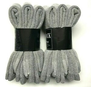 6 Pairs Men's Premium Gray Merino Wool Thermal Work Crew Sock SZ 9-11.