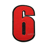 Red Arabic Numbers Embroidered Sew Iron on Badge Patches Applique 0-9
