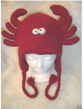 RED LOBSTER HAT knit animal delux fish crab costume ADULT mens women flc lined