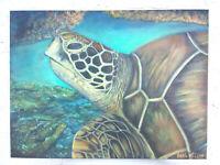 "Original acrylic art, Sea Turtle ,Beach Coastal Nautical 18x24"" Stretched Canvas"