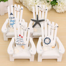 Mini Fairy Wooden Chair Dollhouse Home Sea Beach Bar Decor Ornament White Tb
