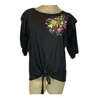 Umgee USA Knit Top Blouse Size Small Floral Embroidered Women's Black Boho