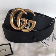 Auth GUCCI Black Leather 4cm Belt GOLD GG Buckle size 75/30 fits 24-26 UNISEX