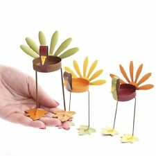 Fall Metal Painted Turkey Tealight Candle Holders Home Decor Set of 3