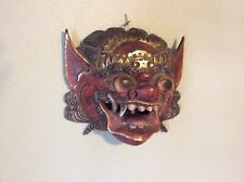 Vintage Large Balinese Dragon Barong Wood Hand Carved & Painted Mask Demon Decor