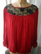 Vintage Black Lace Inset Red Satin Blouse 80s