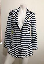 Mango Short Suit 2 Pieces Jacket/short, Size XXS ( Size 6),  Blue-white Stripes