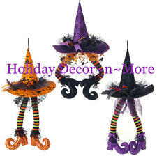 "SET/3 23"" HANGING WITCH HAT W/LEGS RAZ IMPORTS HALLOWEEN DECOR H3416027 WREATH"