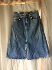 NWT Zara Blue Denim Jean A Line Midi Skirt Size Medium M