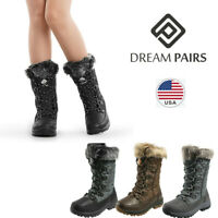 DREAM PAIRS Women's Mid Calf Lace Up Warm Faux Fur Lined Waterproof Snow Boots