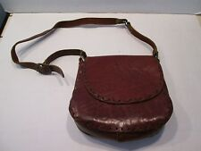 Vintage: WESTERN Hand tooled hand sewn leather purse w/ Adjustable Strap