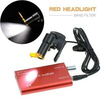 Dental 5W LED Head Light Plastic Clip-on with Filter for Glasses Loupes Red