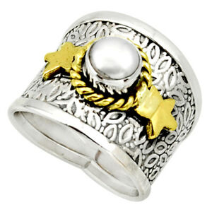 1.64cts Victorian Natural White Pearl 925 Silver Two Tone Ring Size 6.5 D32747
