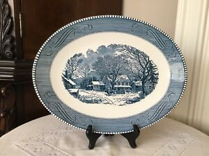 Decorative Oval Wall Plate-Scenery- Blue and White