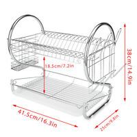 Kitchen Storage 2 Tiers Stainless Steel Drying Rack Holder Organizer Drainer USA