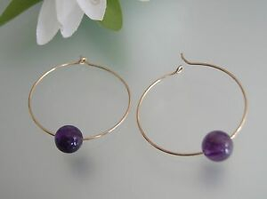 30mm 14k gold filled round circle wire hoop floating Amethyst beads earrings