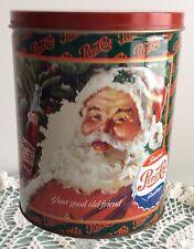 1990'S Pepsi-Cola Retro Christmas Advertisement Santa Popcorn Can Tin Display