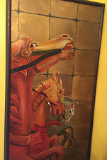 VINTAGE ASIAN? CAROSEL HORSES EQUINE ABSTRACT MODERN PAINTING MYSTERY ARTIST!