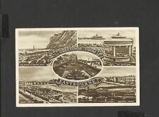 Vintage Black & White Multi View Postcard Greetings from Eastbourne Posted 1944