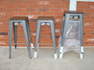 """Set of Four 29.5"""" Seat Height Tolix Style Metal Cafe Bar Stool - Never Used!"""