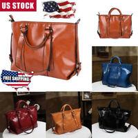 Women Oiled Handbag PU Leather Tote Purse Messenger Elegant Hobo Shoulder Bag US
