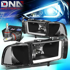 FOR 1994-2001 DODGE RAM LED DRL PROJECTOR HEADLIGHTS W/LED KIT+COOL FAN BLACK