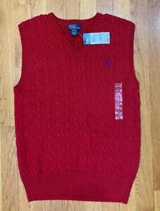 NWT Ralph Lauren Polo Cable Sweater Vest Red BOYS LARGE 14 16