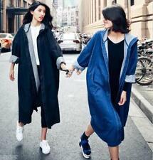 Fashion Women's Hooded Outwear Autumn Jacket Long Loose Solid Colour Denim Coats