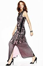 Juicy Couture Maxi vintage inspired dress with Lace  100% Silk $398 size 0 new