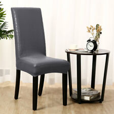 Artificial PU Fabric Leather Shorty Dining Chair Covers Dark Gray - Lace 4pcs