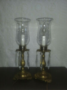 Table Chandelier Candelabra Crystal Prism Lamp French Style