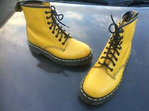Vintage Dr Martens 1460 yellow leather boots Made in England UK 6 EU 39