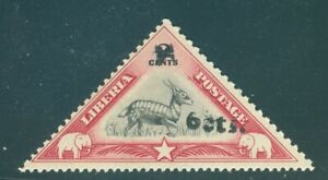"Liberia 1944-5, ""6cts"" overprint on 2c antelope triangle, MINT #294"