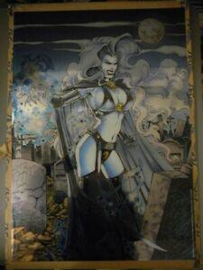 LADY DEATH CHROMIUM POSTER 27 X 19 FLAT PROMO POSTER 1994 ADAM HUGHES ARTWORK